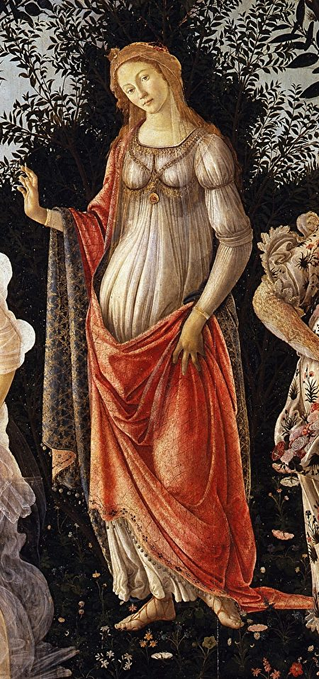 維納斯,桑德羅·波提切利(Sandro Botticelli)《春》(Primavera)局部。(公有領域)