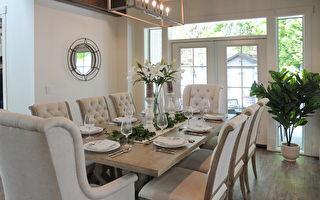 今年的PNE头奖豪宅(PNE Prize Home)是一个豪华的农舍风格现代建筑,图为会客厅。(童宇/大纪元)