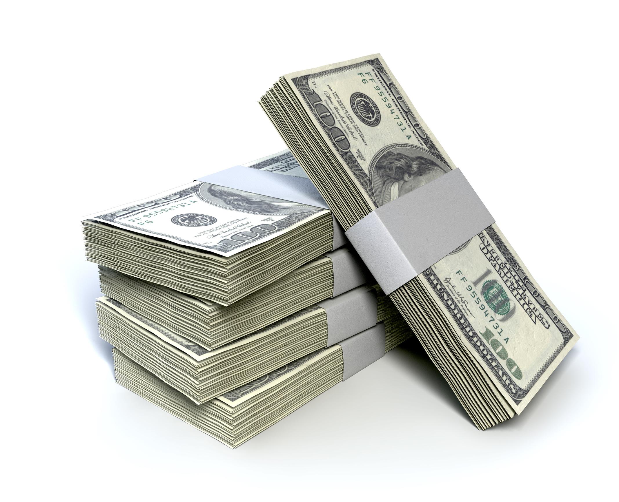 有專家指出,中共如果拋售美債作為應對貿易戰的手段,無疑是啟動自毀核選項,最終會傷到自己。圖為一堆美元鈔票。(Fotolia)
