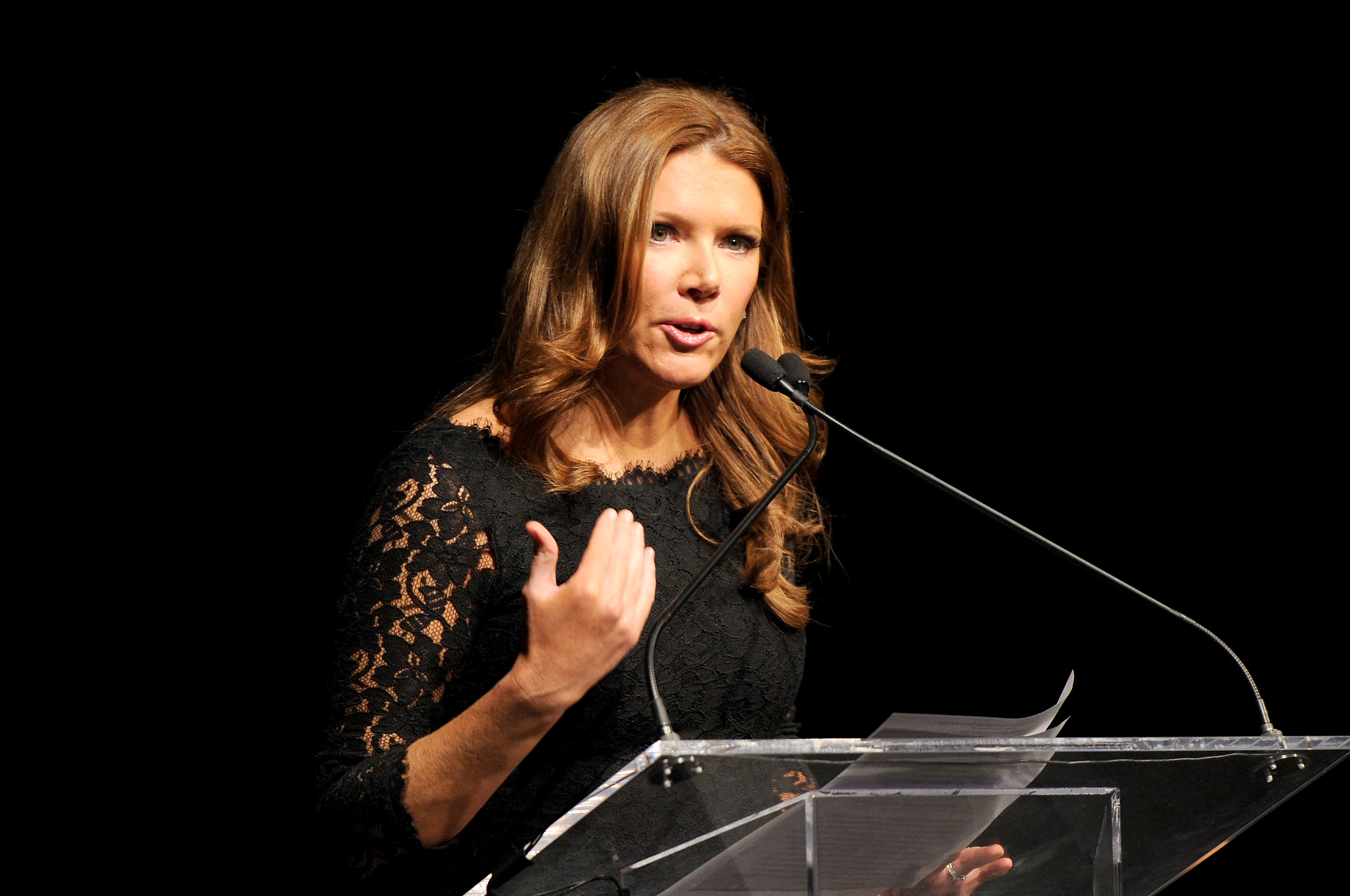 霍士商業網絡電視(Fox Business Network)女主播崔西・列根(Trish Regan)。(Craig Barritt/Getty Images for Jefferson Awards Foundation)
