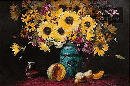 盧秀麗老師的押花創作,表現出如印象派水彩畫的意境,令人驚艷!
