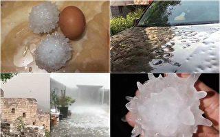 京冀两省现异常天气 鸡蛋大冰雹砸毁农作物