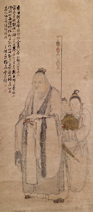清 鮑楷繪東方朔,美國沃爾特斯藝術博物館藏。(公有領域)