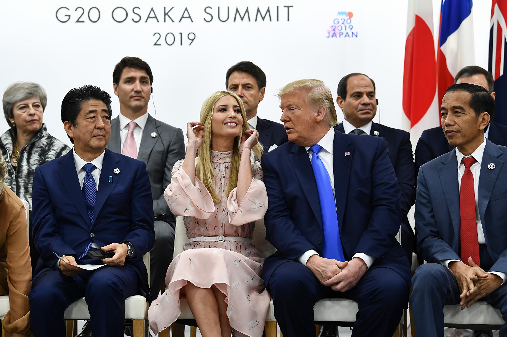 特朗普總統參加G20峰會婦女賦權會議。(Brendan Smialowski / AFP)