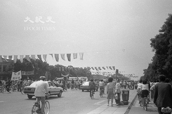 1989年六四前夕北京長安街。(蔣一平提供)
