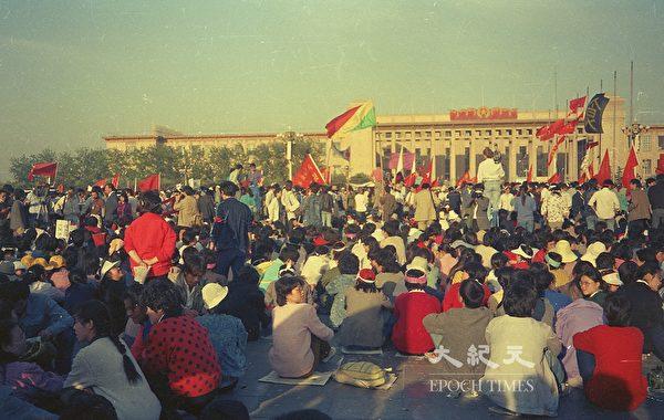 1989年六四前夕北京天安門廣場。(蔣一平提供)