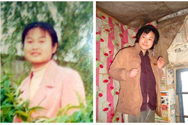 被迫害致瘋前後的柳志梅。右圖被攝於2010年,當有人試圖接近她時,她就攥著雙手躲向自家牆角。(明慧網)