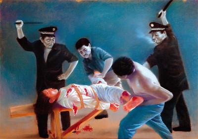 油畫:中共對女性的性迫害。(明慧網)