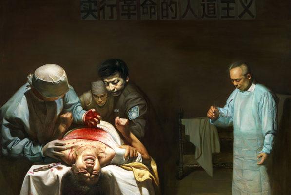 油畫:法輪功學員遭受活摘器官的痛苦及虐殺。(明慧網)