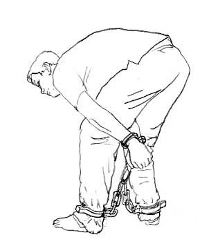 酷刑演示:連體式手腳連銬,此刑是中共迫害法輪功學員的酷刑之一。(網絡圖片)