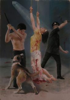 油畫:中共酷刑演示,毒打、放狗撕咬。(明慧網)