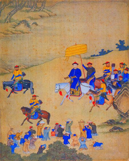 更為奇特和神異的是,清軍從關外一路殺來,入關,和明軍交戰,過程中竟無一人染上瘟疫。示意圖。圖為康熙帝出巡圖(清宮廷畫師繪,北京故宮博物院藏) 。(公有領域)