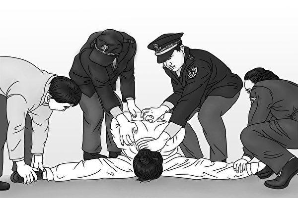 中共酷刑示意圖:「劈腿」。(明慧網)