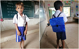 兒子背著老爸DIY書包上學 老師驚豔感動