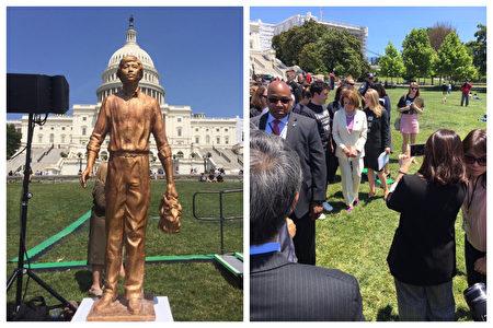 圖為國會山西草坪的金色坦克人雕塑。6月4日下午,美國眾議院議長佩洛西(Nancy Pelosi)在集會上為「坦克人」雕像進行揭幕。(受訪者提供)