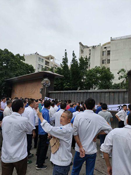廣東深圳市龍崗區的立信染整機械(深圳)有限公司因搬遷賠償不公,數百名職工維權。(受訪者提供)