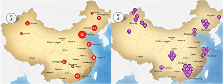 左為中國的監獄分佈圖,右為中國的器官移植醫院以及研究所分佈圖。(英國獨立人民法庭,大紀元合成)