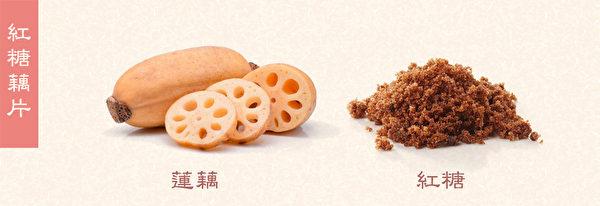 藕可散瘀活血,紅糖甘溫,益氣活血,用於陰血不足型蕁麻疹的食療。(Shutterstock/大紀元製圖)