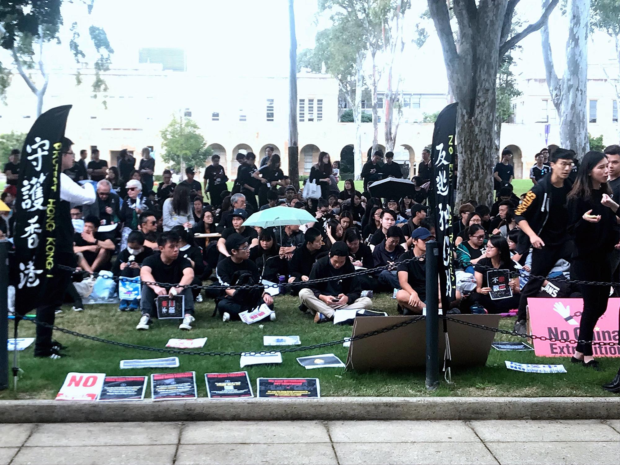 香港留學生布里斯本大學校園集會反送中