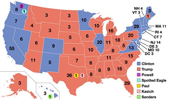 2016年美国总统选举结果地图,红色代表川普获胜的州,蓝色代表希拉蕊获胜的州。数字表示各州获胜候选人得到的的选举人票。(维基公有领域)