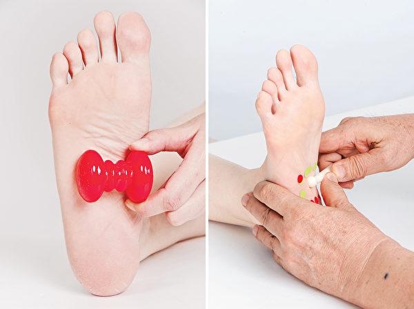 按摩脚底小肠反射区,改善新陈代谢。(商周出版提供)