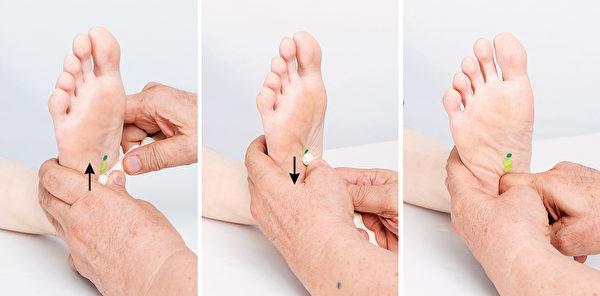按摩脚底的肾反射区,不可压得太深,更不可以将脚板往后扳直按摩。(商周出版提供)