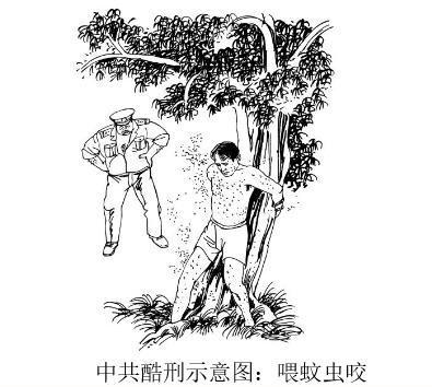 中共酷刑示意圖:餵蚊子。(明慧網)