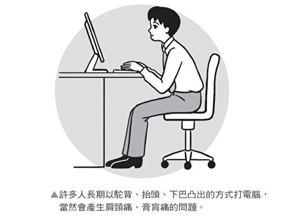 「駝背、抬頭、下巴凸出」的坐姿,發生肩頸痛、膏盲痛是遲早的事。(時報出版提供)