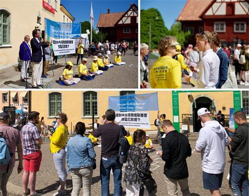 瑞典政治周,學員在法輪功展棚全天展示功法,並開設每天兩次中國問題研討時段,不少人慕名而來深入了解真相。(明慧網)