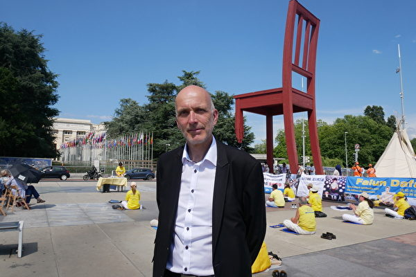 瑞士大議會議員、人權委員會成員Marc Falquet先生。(張妮/大紀元)