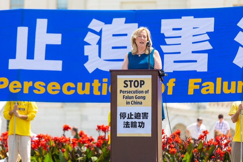 2019年7月18日,公民人權委員會專員琳達·拉格曼博士(Dr. Linda Lagemann)在法輪功反迫害20周年大型集會活動上發言。(Mark Zou/大紀元)