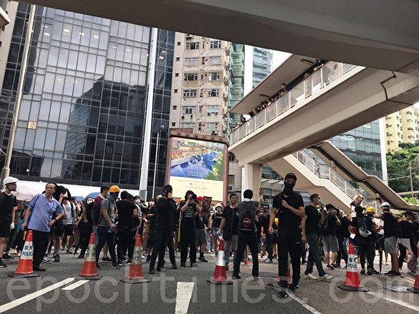 7月28日,有遊行人士在警總附近聚集,但沒有進一步行動。(林怡/大紀元)