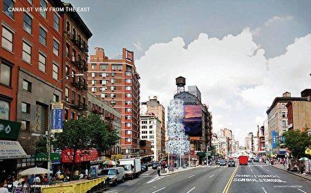 市交通局將改造三角地的信息亭,打造成唐人街迎客的門面。但該設計(白色建物)被華人批評「太抽像」。
