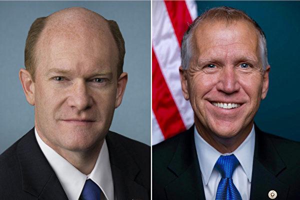 美國參議院人權決策委員會(Human Rights Caucus)主席克里斯・庫恩斯(Chris Coons)(左)和共同主席湯姆・提力斯(Thom Tillis)(右)。(大紀元合成圖片)