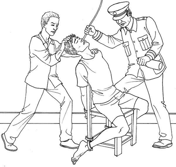 酷刑示意圖:摧殘性灌食。(明慧網圖片)
