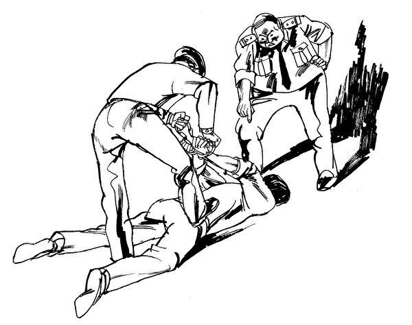 酷刑示意圖:背銬。(明慧網圖片)