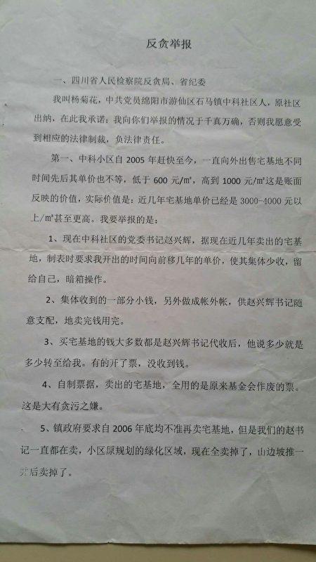 徐維剛與楊菊花的舉報材料。(受訪者提供)