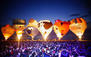 日昇之乡热气球光雕 希望之歌迎曙光