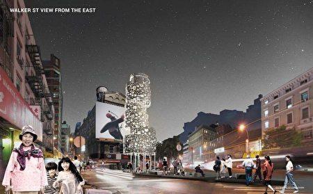 市交通局將改造三角地的信息亭,打造成唐人街迎客的門面。但該設計(白色建物)被華人批評「與華人一點關係沒有」、「太抽像」。
