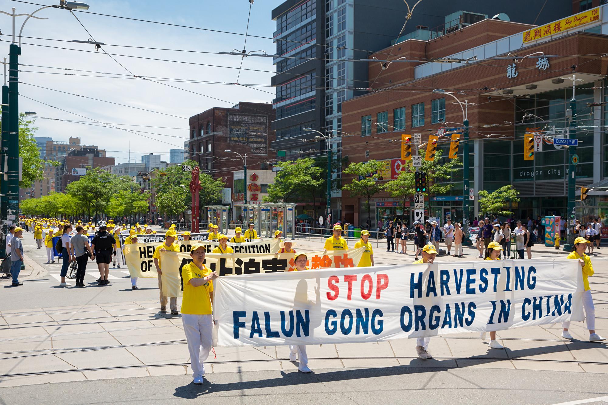 7月20日,加東地區法輪功學員舉行盛大遊行,紀念反迫害20周年,圖為學員手拿橫幅「在中國停止活摘器官。(艾文/大紀元)