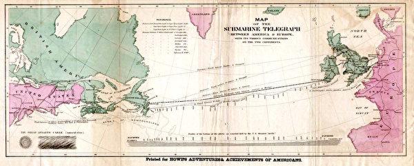 1858年的大西洋海底電纜網。(維基百科公有領域)