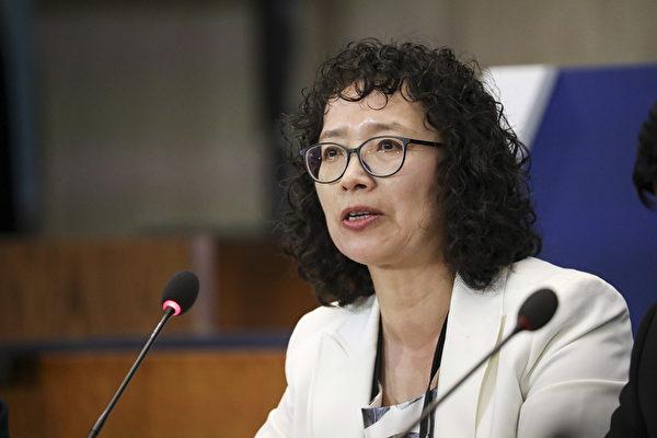 7月17日,在中國遭受迫害的法輪功學員張玉華在美國國務院舉行的、推動宗教自由的部長級會議上發言。 (Samira Bouaou/The Epoch Times)