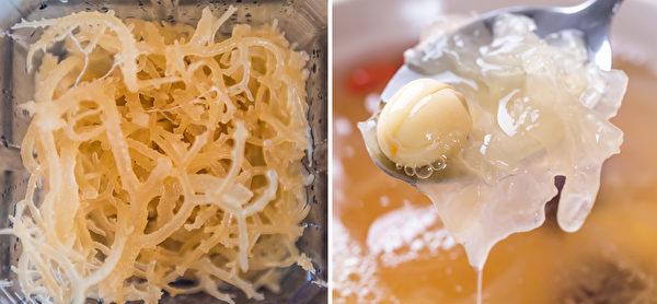 植物性含胶质的食物,例如珊瑚草(又称海底燕窝)和白木耳。(Shutterstock)