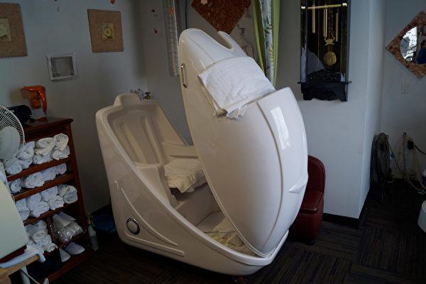 图:盐天堂的臭氧桑拿治疗室,为纯天然、非药物治疗法。(盐天堂提供)