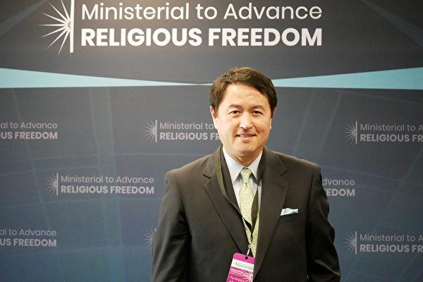 7月16日,法輪功發言人張而平受邀參加在美國國務院舉行的宗教自由會議。(李辰/大紀元)