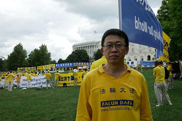 前北京空軍軍訓器材研究所電腦主任、少校軍官、法輪功學員胡志明。(李辰/大紀元)