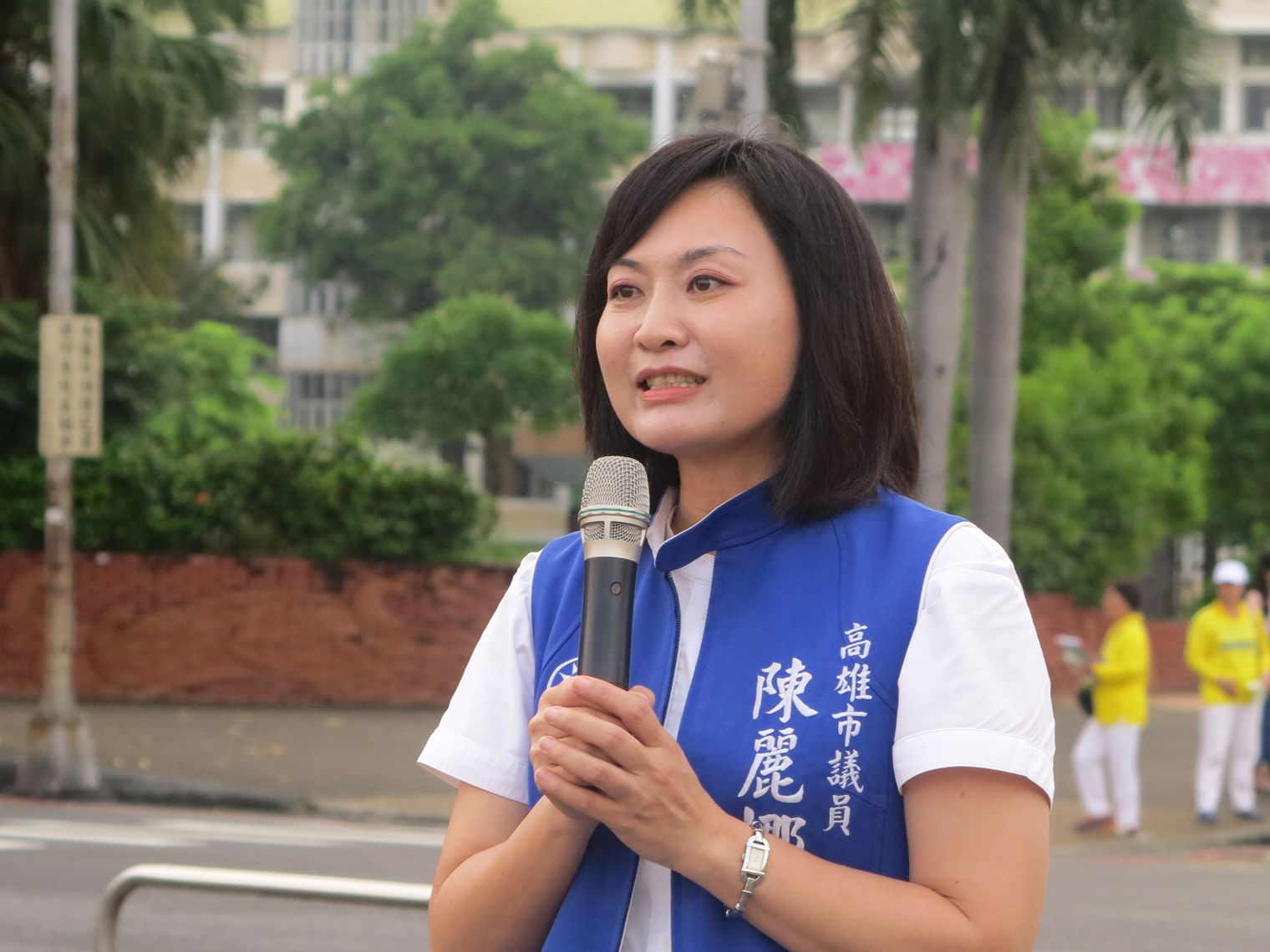 高雄市議員陳麗娜表示,生活在自由台灣的我們,對於中共迫害法輪功信仰人權,應該予以譴責、制止。(李晴玳/大紀元)