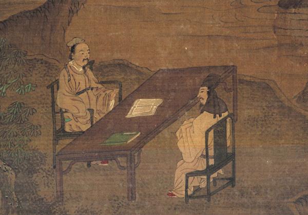 董仲舒在《天人三策》中,提出「興太學、置明師」的建議,明師即古代的博士官。圖為元趙雍的《先賢圖卷》局部。(公有領域)