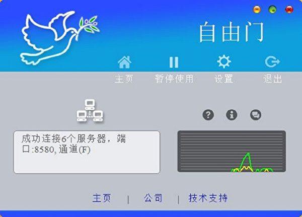 「自由門」是海外法輪功學員開發的破網軟件,幫助中國大陸民眾突破中共網絡封鎖、獲取真實訊息。(Freegate自由門軟件授權截圖)