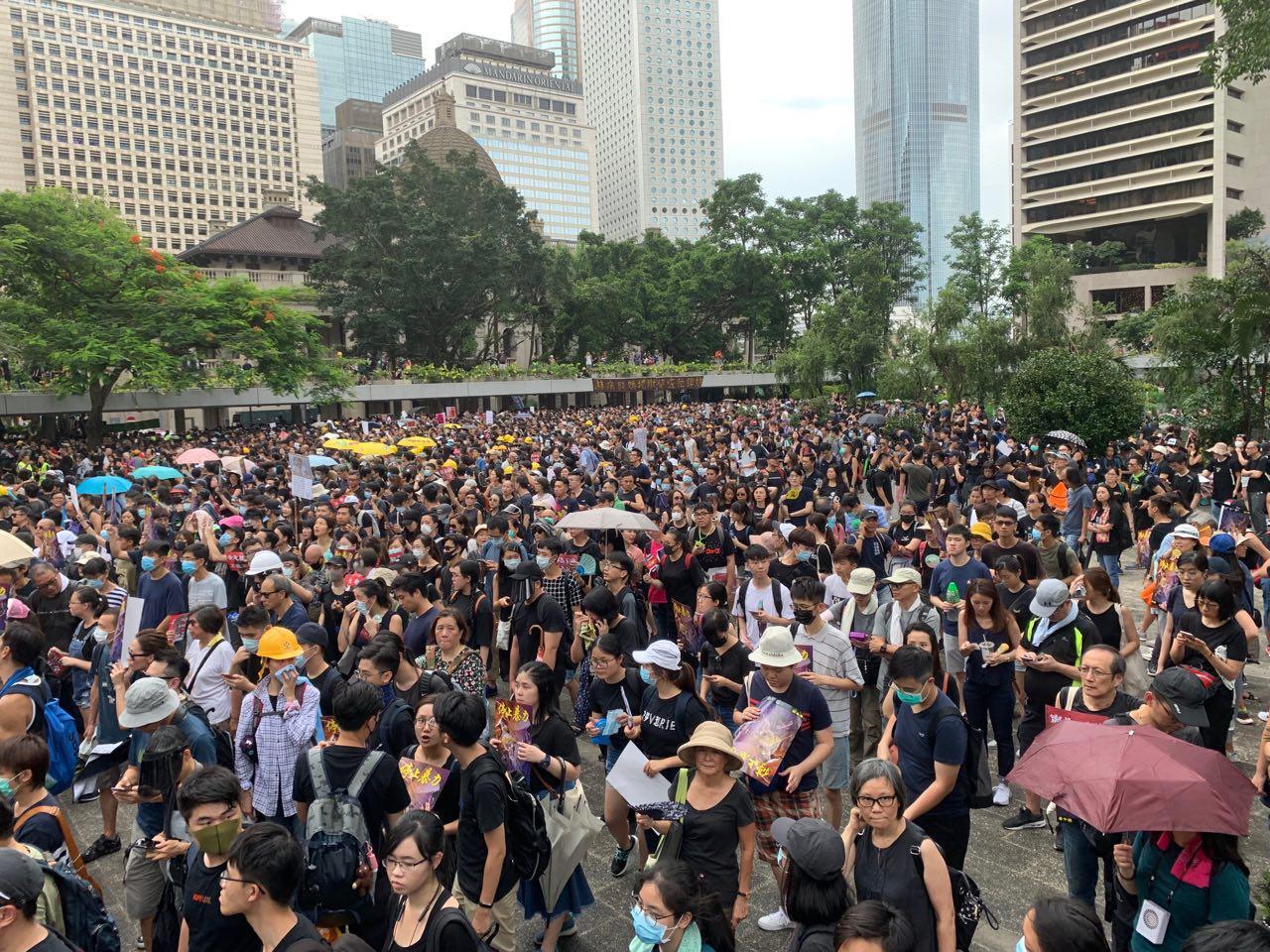 香港遮打公園反送中集會 中外教授現場力挺